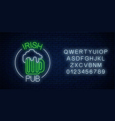 glowing neon irish pub signboard in circle frame vector image