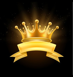 Gold crown ribbon winner shiny sign black vector