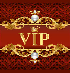 gold vip card on red jewelry background vector image