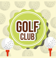 golf club ball on tee and background label vector image