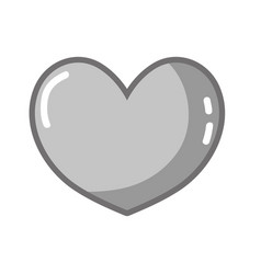 Grayscale heart symbol of love and passion icon vector