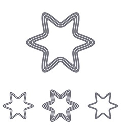 Grey line star logo design set vector