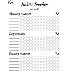 Habits tracker divided into three parts - morning vector