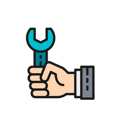 hand with wrench working process flat color icon vector image