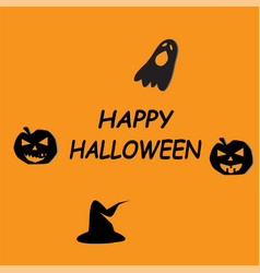 happy halloween icon on orange background flat vector image