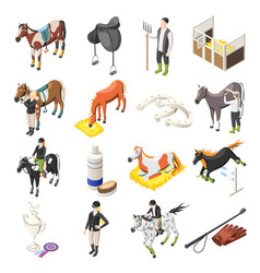Horse riding isometric icons set vector