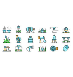 Irrigation system icons set line color vector