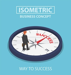 Isometric businessman standing on success compass vector