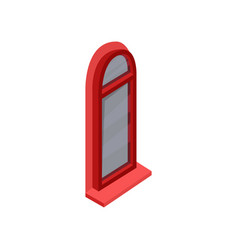 isometric icon of arched window with bright red vector image