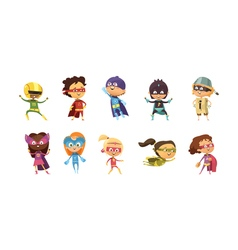 Kids Supeheroes Retro Set vector