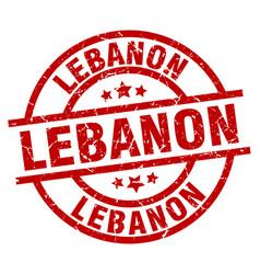 Lebanon red round grunge stamp vector