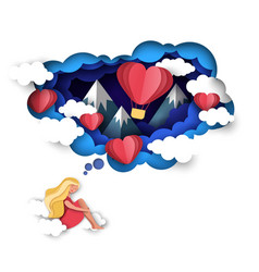 Love dreams in paper art vector
