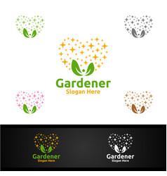 love gardener logo with green garden environment vector image