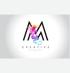M vibrant creative leter logo design with vector