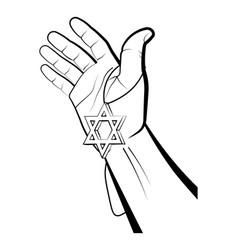 Male hand holds star david keychain israel vector