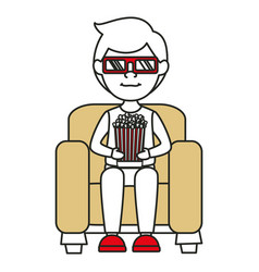 Man on sofa eating pop corn vector
