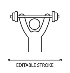 man training with barbell linear icon vector image