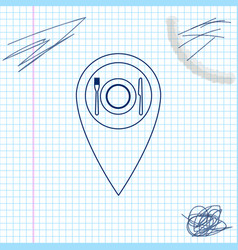 map pointer with restaurant and cutlery dish vector image