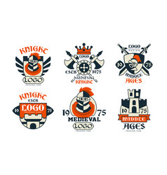 medieval logo design collection middle ages vector image