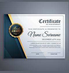 Modern premium certificate award design template vector