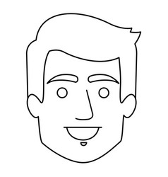 monochrome contour of smiling man face with short vector image