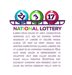 national lottery promotional poster with numbered vector image