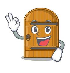 Okay wooden door isolated on character cartoon vector