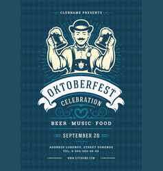 Oktoberfest flyer or poster retro typography vector