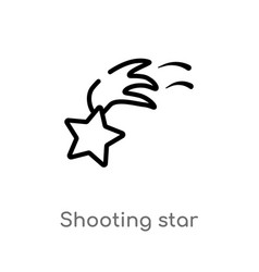 outline shooting star icon isolated black simple vector image