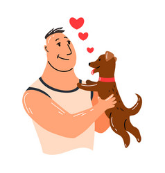 People and pet dog pet owner character man vector