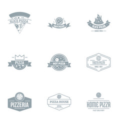 Pizza parlor logo set simple style vector