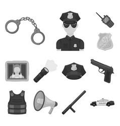 police department monochrome icons in set vector image