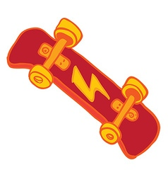 Red skateboard vector