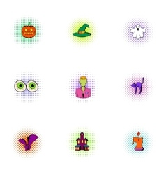 Resurrection of dead icons set pop-art style vector image