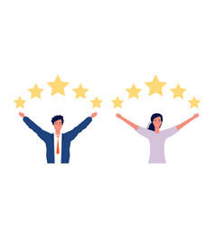review concept man woman and five stars rating vector image