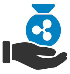 Ripple invest hand flat icon vector