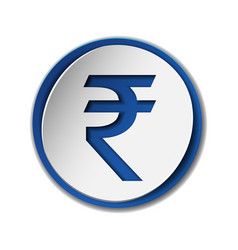 Rupee currency symbol on round sticker with blue vector
