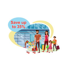 saving costs on sale in grocery store flat vector image