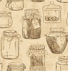Seamless pattern of mason jars vector image