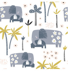 seamless pattern with cute mom and baelephant vector image