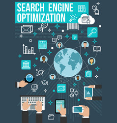 seo optimization banner web business design vector image