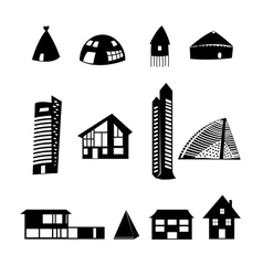 set of different buildings vector image