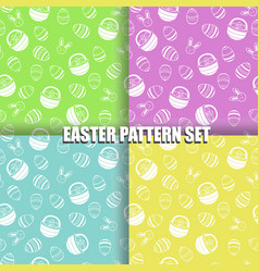Set of easter pattern with eggs basket and bunny vector