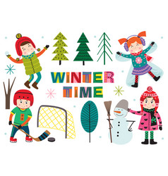 Set of isolated winter time with kids part 2 vector