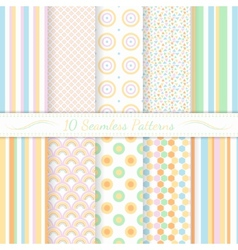 Set of ten seamless retro patterns vector