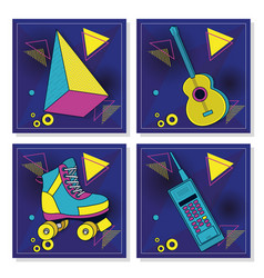 Set retro pop cards vector