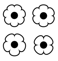 Simple black and white flower icon symbol logo set vector