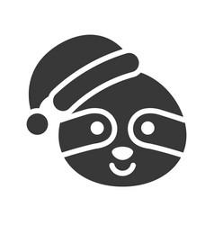 sloth wearing santa hat silhouette icon design vector image