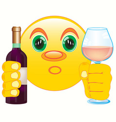 Smiley with bottle blame and goblet vector