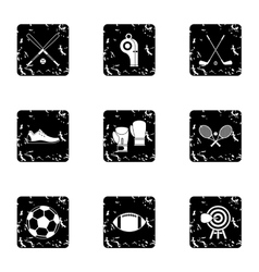 Sports stuff icons set grunge style vector